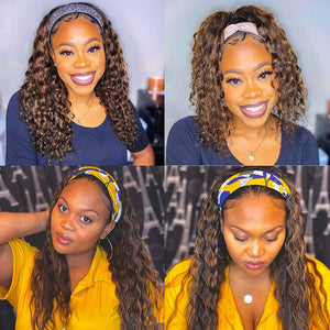 Curly Headband Wigs for Black Women Deep Wave Human Hair Wigs Headband Attached Balayage 1B/30 Black with Auburn Highlights Natural Hair None Lace Front Wigs Brazilian Virgin Human Hair Wig 22 Inch