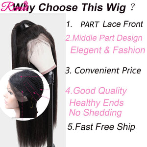 Middle Part Lace Front Human Hair Wigs 28'' Lace Part Wigs Pre Plucked With Baby Hair 150% Brazilian 13*1 Part Lace Remy Wigs