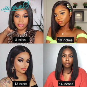 Ali Grace Bob Lace Front Wigs For Black Women Short Human Hair Bob Wigs Natural Hairline Brazilian Straight Lace Front Bob Wig