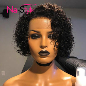 Pixie Cut Lace Wig Preplucked Blunt Cut Bob Lace Front Wigs Short Human Hair Wigs Curly 13x4 Lace Front Human Hair Wigs 130%