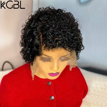 Load image into Gallery viewer, KGBL 13*4 Pixie Curly Lace Front Human Hair Wigs 150% 180% Density With Baby Hair Brazilian Non-Remy Medium Ratio For Women