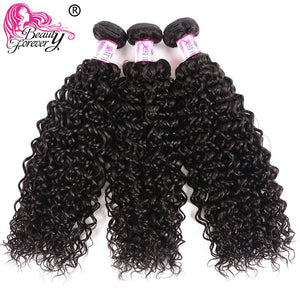 Beauty Forever Malaysian Curly Human Hair Bundles With Closure  4*4 Closure Free/Middle/Three Part 100% Remy Hair Extension