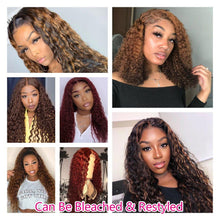 Load image into Gallery viewer, Glueless 360 Lace Frontal Wig Curly Full Lace Front Human Hair Wigs Pre Plucked With Baby Hair For Black Women Remy Water Wig