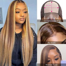 Load image into Gallery viewer, Beauty Forever 13x4 Straight Honey Blonde Ombre Color Highlight 150% Lace Front Human Hair Wigs Remy Brazilian Wigs T4/12