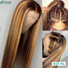 Load image into Gallery viewer, Allove Honey Blonde Lace Front Wigs Highlight Straight Human Hair Wig
