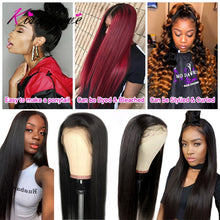 Load image into Gallery viewer, 13x6 Lace Frontal Human Hair Wigs Pre Plucked 180% Density Brazilian Straight 13x4 Lace Frontal Wig with Baby Hair Remy KissLove