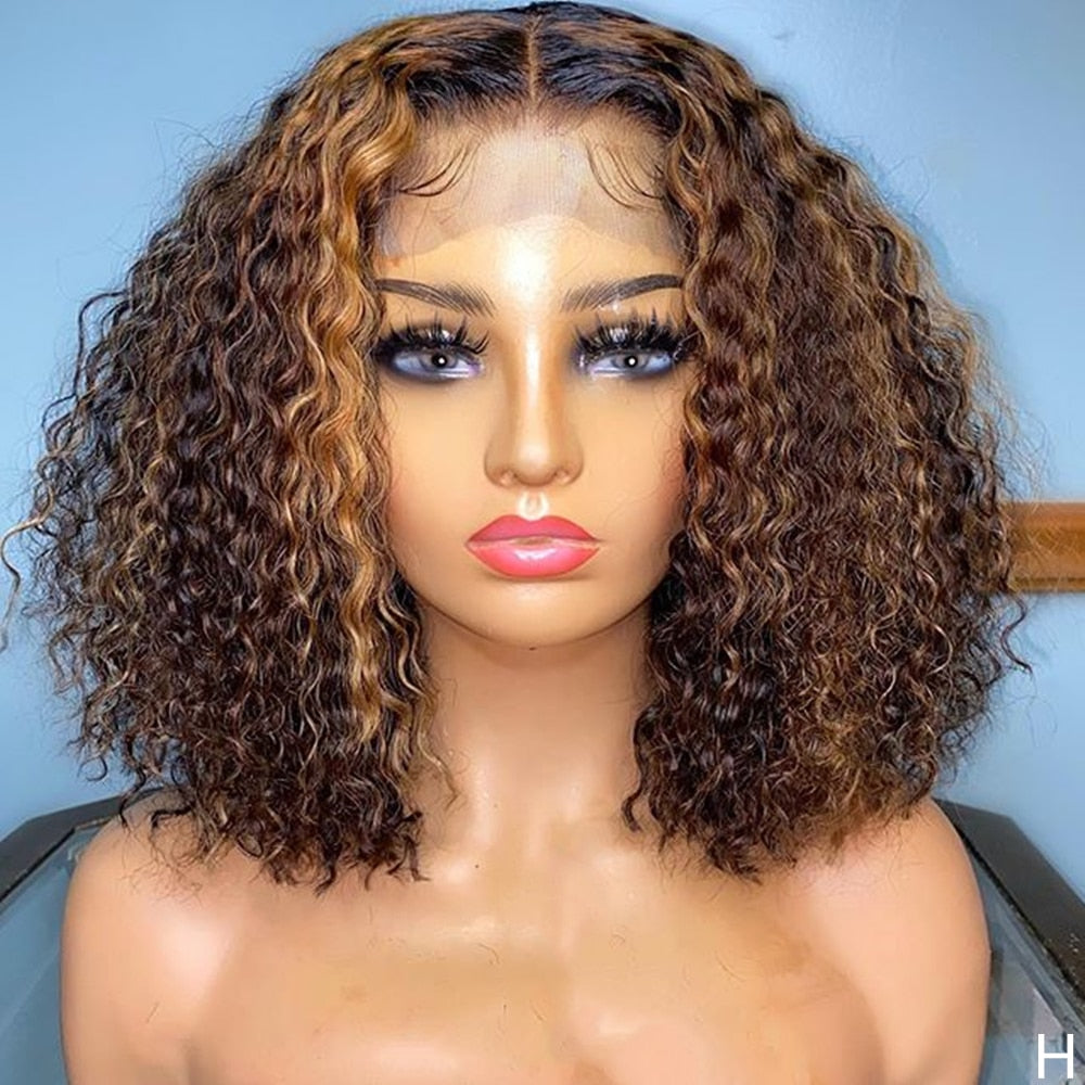 Ombre Brazilian Kinky Curly 13x6 Lace Front Human Hair Wigs for Women 180 HD Lace Wig Pre Plucked Hairline Remy Hair Hight Light