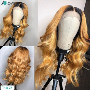 Honey Blonde Brown Highlight Wig Body Wave Lace Front Wig 1B 27 Ombre Human Hair Wigs For Women 150% 13X6 Lace Frontal Wig