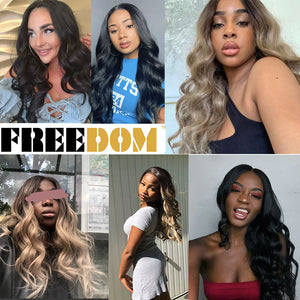 FREEDOM Free Parting  Easy 360 Lace Front Synthetic Wigs For Black Women Ombre Blond Red Color Ponytail  Supreme Hair cosplay