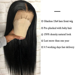 Lace Front Human Hair Wigs Straight Pre Plucked 1B Black 13x4 150% Malaysian Remy Human Hair Wig Lace Frontal Wigs For Women
