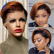 Load image into Gallery viewer, Alicrown Ombre Pixie Cut Wigs  Short Lace Front Human Hair Wigs 180% Density Brazilian Pixie Wigs Non-Remy Middle Ration