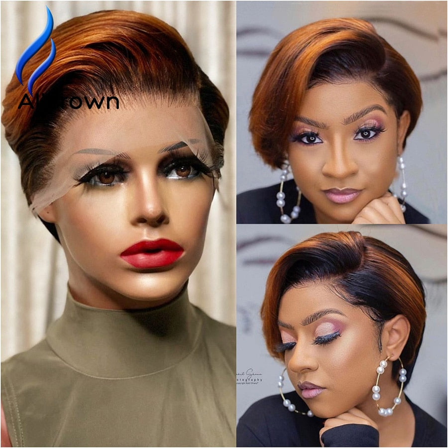 Alicrown Ombre Pixie Cut Wigs  Short Lace Front Human Hair Wigs 180% Density Brazilian Pixie Wigs Non-Remy Middle Ration