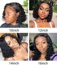 Load image into Gallery viewer, Cranberry Hair Malaysian Hair Water Wave Wig 13X4 Short Human Hair Wigs Remy Hair Lace Front Human Hair Wigs Bob Lace Front Wigs