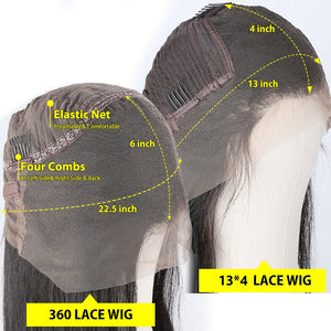 28 30 Inch Brazilian Straight 13x4 Lace Front Human Hair Wigs Pre Plucked With Baby Hair 180 Density Long 360 Lace Frontal Wig
