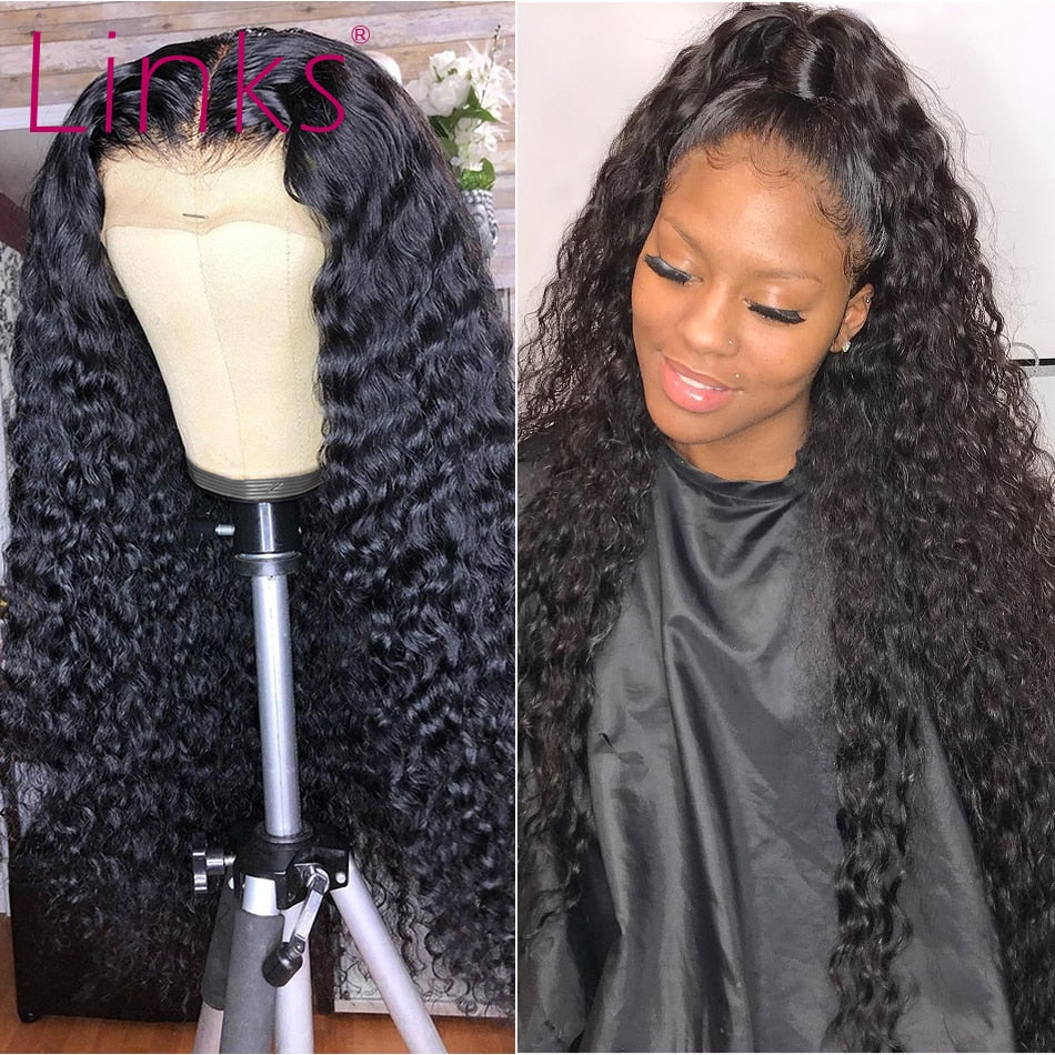 Links Deep Wave Lace Front Wigs 28 30 Inch 360 Lace Frontal Water Curly  Wig Brazilian Remy Human Hair Pre plucked