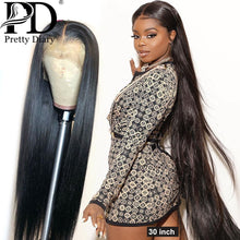 Load image into Gallery viewer, 28 30 Inch Brazilian Straight 13x4 Lace Front Human Hair Wigs Pre Plucked With Baby Hair 180 Density Long 360 Lace Frontal Wig