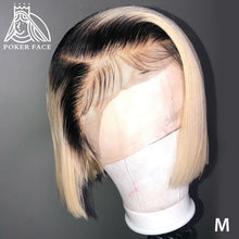 Load image into Gallery viewer, Poker Face Straight 613 Blonde 13x4 Lace Front Wigs T/1B 613 Short Bob Wigs Brazilian Human Hair Wigs 150% Density Remy Hair