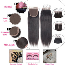Load image into Gallery viewer, Beaudiva Straight Bundles With Closure Brazilian Hair Weave Bundles With Closure Human Hair Bundles With Closure Hair Extension