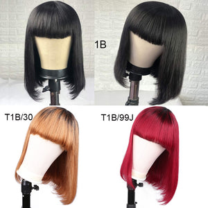 Brazilian Human Hair Wigs Short Bob Straight Human Hair Wig With Bangs For Black Women Amanda Remy Hair Wig T1B/99j T1B/30 Color
