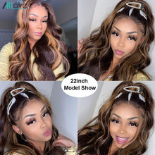 Load image into Gallery viewer, Honey Blonde Brown Highlight Wig Body Wave Lace Front Wig 1B 27 Ombre Human Hair Wigs For Women 150% 13X6 Lace Frontal Wig