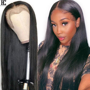 Straight Lace Front Human Hair Wigs Middle Part Brazilian Straight Wig With Baby Hair Remy 13x1 Lace Front Wig Pre Plucked 150%