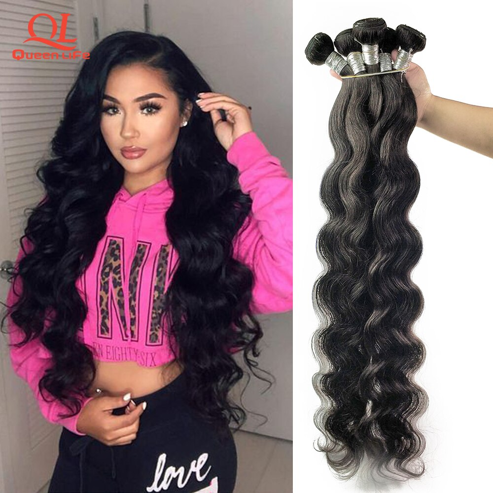 Queenlife Body Wave Bundles Brazilian Hair Weave Bundles 100% Human Hair Bundles 1/3/4 Pieces 30 32 34 34 38 40 Inches Remy Hair