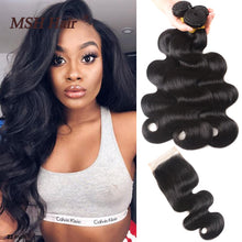 Load image into Gallery viewer, MSH Hair Brazilian Body Wave Bundles With Closure Human Hair Bundles With Closure Brazilian Hair With Lace Closure Non-Remy