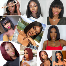 Load image into Gallery viewer, Angel Grace Bob Lace Front Wigs With Bangs 13x4 Short Brazilian Straight Human Hair Bob Wigs Pre Plucked Lace Closure Wigs Remy