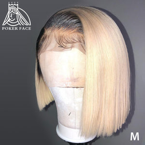 Poker Face Straight 613 Blonde 13x4 Lace Front Wigs T/1B 613 Short Bob Wigs Brazilian Human Hair Wigs 150% Density Remy Hair
