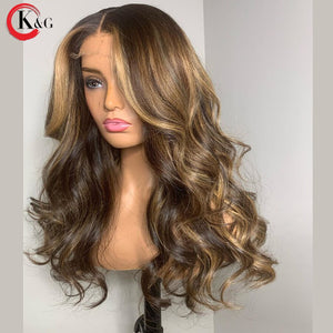 KungGang Highlight 13*4 13*6 Lace Front Human Hair Brazilian  Middle Ratio  Deep Part Lace Wavy  Wigs  130% 150% Density