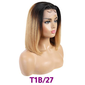 Ombre Lace Front Human Hair Wigs For Black Women 13x4 Straight Short Bob Wigs Blonde Burgundy 99J Brazilian Wig Soft Feel Hair
