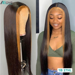 Allove Honey Blonde Lace Front Wigs Highlight Straight Human Hair Wig