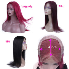Load image into Gallery viewer, HairUGo 4x4 Lace Closure Wigs 99J Brazlian Remy Straight Lace Closure Human Hair Wigs For Black Women Human Hair Wig Pre Plucked