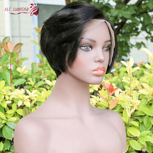 Pixie Cut Bob Lace Front Human Hair Wigs Natural Black 13*4 Straight Lace Front Wigs Short For Women Alilumina
