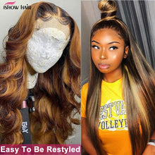 Load image into Gallery viewer, Ishow Highlight Wig Brown Colored Human Hair Wigs 13X4 13X6 Ombre Straight Lace Front Wig Highlight Lace Front Human Hair Wigs