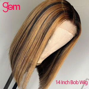 30 Inch Ombre Highlight Human Hair Wig Bob Honey Blonde 613 Lace Front Wig Remy Straight 13x6 HD Transparet Lace Frontal Wig