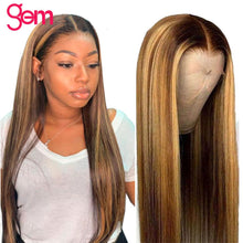 Load image into Gallery viewer, 30 Inch Ombre Highlight Human Hair Wig Bob Honey Blonde 613 Lace Front Wig Remy Straight 13x6 HD Transparet Lace Frontal Wig