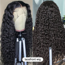 Load image into Gallery viewer, 28 30 Inch HD Deep Wave Glueless Curly Lace Front Human Hair Wigs Water Wave Black Women Brazilian Virgin Remy Hair Wig Plucked