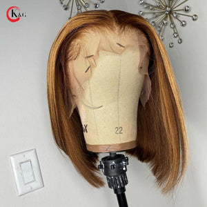 "KungGang 13*6 8""-14"" Stright Bob Wigs  Highlight Lace Front Human Hair  Brazilian Non-Remy Deep Part Lace Wigs 130% 150% density"