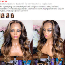 Load image into Gallery viewer, Highlight 360 Lace Frontal Wig 13x6 Lace Front Human Hair Wigs 180% Brazilian Remy Wavy Human Hair PrePlucked Lace Wigs