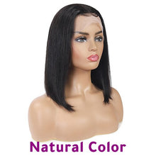 Load image into Gallery viewer, Ombre Lace Front Human Hair Wigs For Black Women 13x4 Straight Short Bob Wigs Blonde Burgundy 99J Brazilian Wig Soft Feel Hair