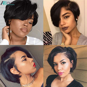 Allove Pixie Cut Wig Straight Hair Wig Machine Wig Natural Color Brazilian Pixie Wig Human Hair Wigs Short Bob Wigs For Women
