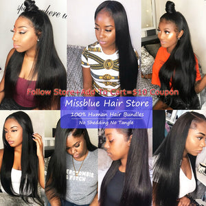 Missblue Brazilian Hair Weave Bundles 28 30 32 24 26 38 40 Inch Straight Remy Human Hair Bundles Hair Extensions Natural Color