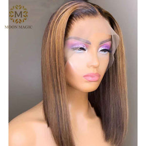 HD Transparent Lace Wig Ombre Human Hair Wigs Pixie Cut Highlight Lace Front Wig Honey Blonde Lace Front Wig  Short Bob Hair