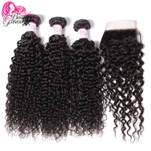 Load image into Gallery viewer, Beauty Forever Malaysian Curly Human Hair Bundles With Closure  4*4 Closure Free/Middle/Three Part 100% Remy Hair Extension