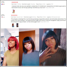 Load image into Gallery viewer, Brazilian Human Hair Wigs Short Bob Straight Human Hair Wig With Bangs For Black Women Amanda Remy Hair Wig T1B/99j T1B/30 Color