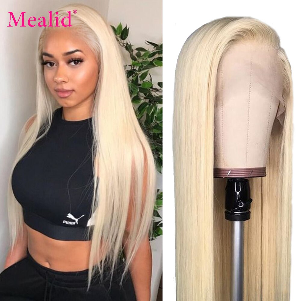 Glueless 613 Blonde Lace Front Wigs Remy Brazilian Straight Hair Lace Front Human Hair Wigs 13x4 Pre Plucked With Baby Hair 150%