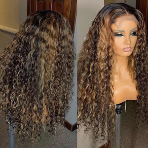 Ombre Brown Color Curly 13x1x6 Lace Front Human Hair Wigs With Baby Hair Pre Plucked Remy Brazilian Lace Wigs Bleached Knots