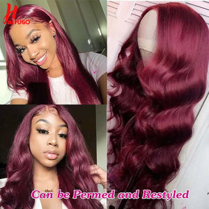 HairUGo 4x4 Lace Closure Wigs 99J Brazlian Remy Straight Lace Closure Human Hair Wigs For Black Women Human Hair Wig Pre Plucked