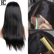Load image into Gallery viewer, Lace Front Human Hair Wigs Brazilian Straight 150% Density 13x4 Lace Front Wig Pre Plucked With Baby Hair Remy Middle Part Wig